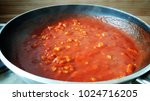 cooking spaghetti sauce in pan  ...   Shutterstock . vector #1024716205