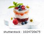 dessert with jam  cream and... | Shutterstock . vector #1024720675