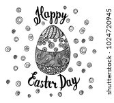 hand sketched happy easter text ... | Shutterstock .eps vector #1024720945