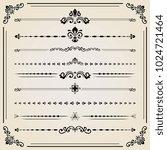 vintage set of black decorative ...   Shutterstock . vector #1024721464