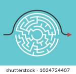 Stock vector circular maze with entrance and exit and bypass route arrow going around it problem and solution 1024724407