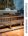 vintage benches to pray inside...   Shutterstock . vector #1024725511