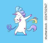 dabbing unicorn   cute funny... | Shutterstock .eps vector #1024732567