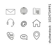 contacts set online icons | Shutterstock .eps vector #1024734991