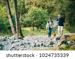 senior couple are hiking... | Shutterstock . vector #1024735339