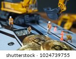 a little miner is digging on...   Shutterstock . vector #1024739755
