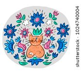 cat scandinavian hygge mandala | Shutterstock .eps vector #1024740004
