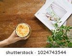 top view of iced latte ...   Shutterstock . vector #1024743544