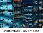 skyscrapers illuminated at... | Shutterstock . vector #1024746355