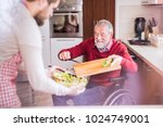 son and senior father in... | Shutterstock . vector #1024749001