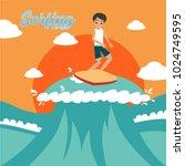 surfing illustration design | Shutterstock .eps vector #1024749595