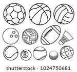 ball sport outline vector set... | Shutterstock .eps vector #1024750681