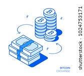 isometric bitcoin investment... | Shutterstock .eps vector #1024753171