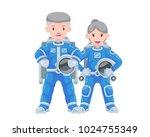 modern senior citizen astronaut ... | Shutterstock .eps vector #1024755349