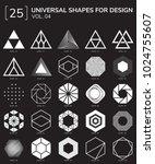 set 25 universal geometric... | Shutterstock .eps vector #1024755607