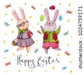 easter card. watercolor hand...   Shutterstock . vector #1024759171