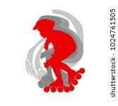 inline skate kid training... | Shutterstock .eps vector #1024761505