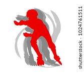 inline skate kid training... | Shutterstock .eps vector #1024761511