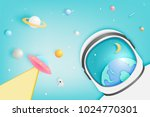 astronaut and paper ufo beam... | Shutterstock .eps vector #1024770301