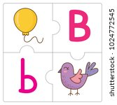 the jigsaw puzzle match words b   Shutterstock .eps vector #1024772545