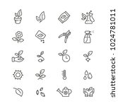 plants related icons  thin... | Shutterstock .eps vector #1024781011