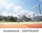 empty volleyball arena 3d... | Shutterstock . vector #1024781695
