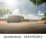 empty skating park in the sunny ... | Shutterstock . vector #1024781851