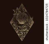 shell engraving. panoramic... | Shutterstock .eps vector #1024784725