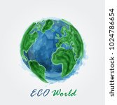 eco world . watercolor painting ... | Shutterstock .eps vector #1024786654