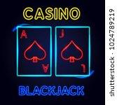 neon sign for blackjack cards.... | Shutterstock .eps vector #1024789219