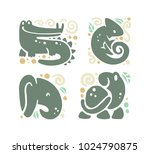 flat cute funny hand drawn... | Shutterstock . vector #1024790875