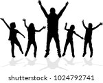 dancing silhouettes of children. | Shutterstock .eps vector #1024792741