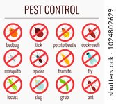pest control line icon set with ... | Shutterstock .eps vector #1024802629