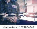 double exposure of  engineer or ... | Shutterstock . vector #1024804645
