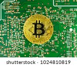 golden bitcoin cryptocurrency... | Shutterstock . vector #1024810819