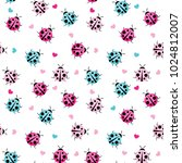 cute ladybug seamless pattern... | Shutterstock .eps vector #1024812007