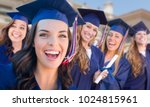 happy graduating group of girls ... | Shutterstock . vector #1024815961