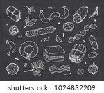 vector food. sausages set. meat ... | Shutterstock .eps vector #1024832209