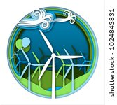 wind energy concept with wind... | Shutterstock .eps vector #1024843831