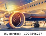 plane close up engine with blue ... | Shutterstock . vector #1024846237