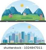 city landscape and suburban... | Shutterstock .eps vector #1024847011