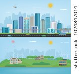city landscape and suburban... | Shutterstock .eps vector #1024847014