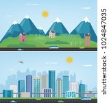 city landscape and suburban... | Shutterstock .eps vector #1024847035