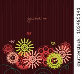 floral background with cartoon... | Shutterstock .eps vector #102485141
