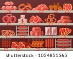 butcher shop showcase with... | Shutterstock .eps vector #1024851565