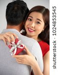 beautiful young woman embraced... | Shutterstock . vector #1024853545
