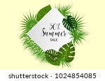 summer sale poster. tropical... | Shutterstock .eps vector #1024854085