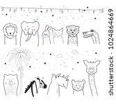 animal cartoon set isolated on... | Shutterstock .eps vector #1024864669