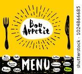 bon appetit poster with fork... | Shutterstock .eps vector #1024866685