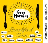good morning logo  fork  knife  ... | Shutterstock .eps vector #1024866691
